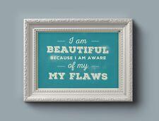 Retro Motivational Typography - I Am Beautiful Because  - 102 - Home Decor