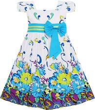 Robe Fille Bleu Fleur Court Manche Partie Anniversaire Enfants 2-10 ans