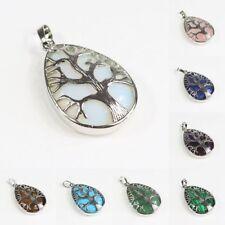 Natural Gemstones Amethyst Teardrop Silver Tree of Life Reiki Chakra Pendant