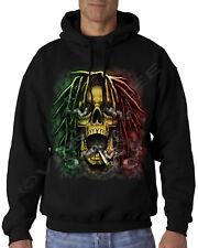 Velocitee Mens Hoodie Smoking Rasta Skull Rastafarian Weed A21012