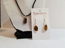 Handmade Tiger's Eye Stone Black Cord Necklace & Earrings Jewelry Set