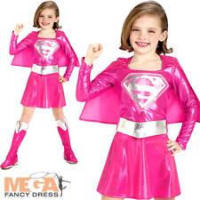 Supergirl chicas Superhéroe Elaborado Vestido Rosa Niños Traje de Disfraz de Superman 3-10 y