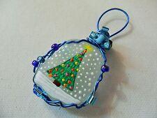 Fairy lights snowfall tree - Hand painted sea glass Christmas tree decoration