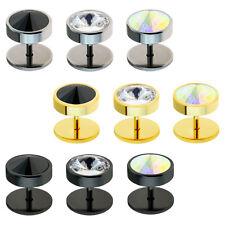 316l ACERO inox. Plug Falso Circonia Cz Cristal Plata Negro Oro Piercing Oreja