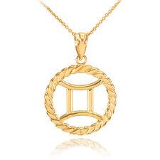 14k Gold Gemini Zodiac Sign in Circle Rope Pendant Necklace