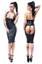 Sexy Wetlook Vêtement Soutien-Gorge Soulevé Haut Taille Jupe String PVC Set Top