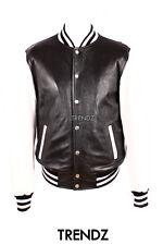 Men's BASEBALL BLACK Varsity Style College Letterman Lambskin Leather Jacket