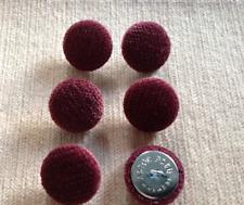 Chenille Velluto 36L/23mm di prugno Tappezzeria Stoffa coperto i pulsanti (Borgogna/Rosso)