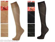 3 Pairs Ladies Knee High Pop Socks Trouser Tights 80 Denier Adults Black Or Tan