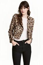 H&M Leopard Print Cropped Biker Jacket Size 36,38,40