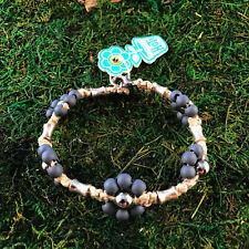 HOTI Hemp Handmade Natural Gray Flower Wood Metal Bead Anklet Ankle Bracelet NWT