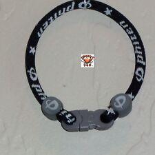 Phiten Custom Bracelet - Black with Gray Clasp and Grommets