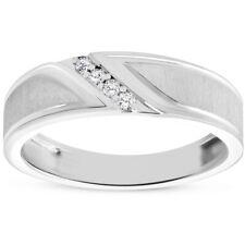 Mens 1/10ct White Gold Diamond Ring Flat Classic Bushed Wedding Anniversary Band