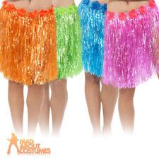 Hawaiian Hula Skirt Ladies Grass Garland Luau Pink Blue Green Orange Fancy Dress