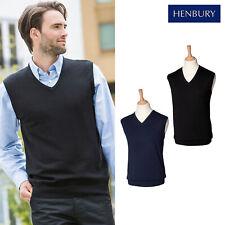 Henbury Sleeveless Mens V-Neck Jumper H724 - Office Workwear Blank Plain Sweater