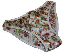 Shiny FLORAL PRINT SATIN ivory French BIKINI BRIEF panties PLAIN SIMPLE XS-XXL