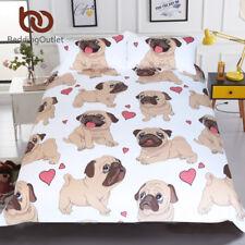 Hippie Pug Bedding Set Queen Size Animal Cartoon Bed Set for Kids Cute Bulldog P