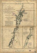 Stampa POSTER Antico laghi e fiumi Mappa Champlain