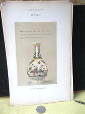 Vintage Print,FAIENCE,1872,Bouteille,Porte-Fleurs,Rouen,Pg.19