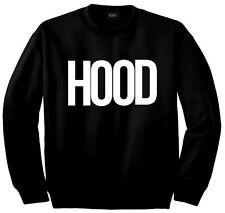 Kings Of NY Hood Bold Font Printed Street Crewneck Sweatshirt  LA NYC Black Grey