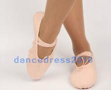 New Child Girls Kids Soft Split-Sole Canvas Ballet Dance Shoes Slippers SZ 8-13