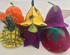 FELT HATS FRUIT STRAWBERRY PINEAPPLE ORANGE BANANA FLOWER HIPPY BOHO FESTIVAL DL