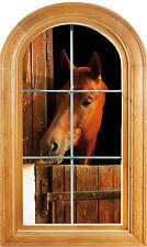 Sticker fenêtre vouté trompe l'oeil déco Cheval dans son box réf 639