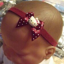 BABY GIRL/REBORN DOLL BURGANDY SPOTTED BOW  HELLO KITTY HEADBAND