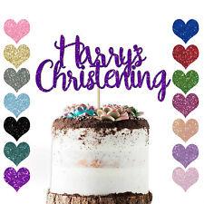Peronalised Newborn Baby Christening Day Cake Topper Baptism Name Happy Naming