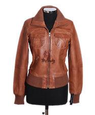 Damas Brooklyn Bronceado Encerado Estilo Motero Verdadero Diseñador Piel de cordero cuero chaqueta
