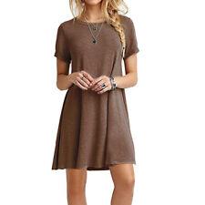 Womens Short Sleeve Plain Boho Beach Dress Casual Loose Top Party Mini Dresses