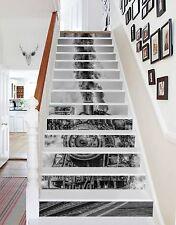 3D Black Train Stair Risers Decoration Photo Mural Vinyl Decal Wallpaper CA