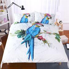 3D Blue Parrot 472 Bed Pillowcases Quilt Duvet Cover Set Single Queen CA