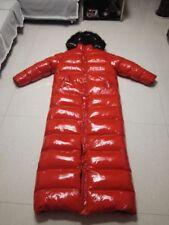 Unisex Glossy nylon wetlook fur collar Down jacket Parkas Long coat