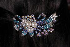 Pearl and Rhinestone Hair Clip Ribbon Bow Barrette with Aurora Borealis Crystals