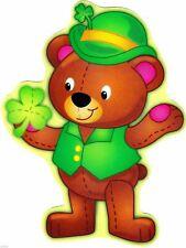"6""-9.5"" ST PATRICKS DAY LEPRECHAUN TEDDY BEAR HOLIDAY STICKER WALL SAFE CUT OUT"