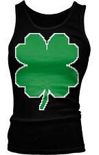 Pixel Four Leaf Clover - Luck St Patrick's Irish Boy Beater Tank Top