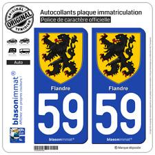 2 Stickers autocollant plaque immatriculation : 59 Flandre - Armoiries
