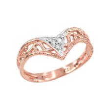 Handcrafted Fine Women's 10k Rose Gold Cutout Filigree Chevron Diamond Ring