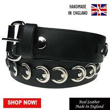 """38mm OCCHIELLI BORCHIE Design Cintura in Pelle vera fatto a mano in Inghilterra TG 28"""" -44"""""""