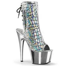 PLEASER Adore-1018HG Silver Hologram Ostrich Chrome Open Toe Platform Club Boots