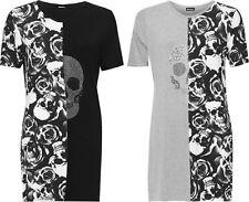 Plus Size Womens Split Print T-Shirt Mini Dress Top Ladies Diamante Skull Roses