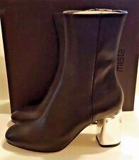 NIB New Miista Adrianne Black / Silver Heel Zip Up Ankle Boot