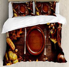 Harvest Duvet Cover Set with Pillow Shams Dinner at Thanksgiving Print