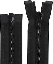 Black YKK 10-76 Inch (25cm-193cm) OPEN END Nylon Zip
