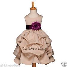 CHAMPAGNE/PLUM WEDDING PICK UP FLOWER GIRL DRESS 6M 9M 12M 18M 2 4 6 8 10 12