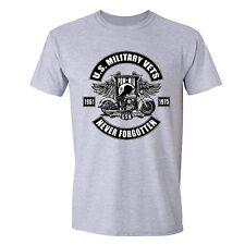 Military Veteran T-Shirt POW MIA Memorial Army USA Motorcycle Flag Tshirt Gray