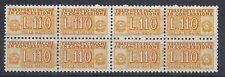 1955-81 ITALIA PACCHI IN CONCESSIONE STELLE 110 LIRE QUARTINA MNH ** - RR10350