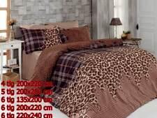 Bettwäsche Bettgarnitur Bettbezug 100% Baumwolle Kissen Decke LEOPARD BRAUN