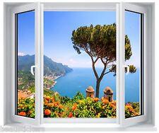 Sticker fenêtre trompe l'oeil Belle vue sur mer réf 5262